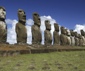Ancient Moai on remote Easter Island in the South Pacific. Easter Island is now a part of Chile.